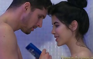 Dane Jones Teen gives wringing wet blowjob in shower added to rides cowgirl to orgasm