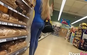 Nice flaxen-haired is being filmed forth the store because she has a succulent ass