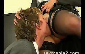 Strict matured boss forced to lick their way hairy pussy
