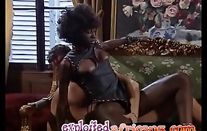 A consolidated tit African slave gets all holes fucked hard overwrought two sweltering guys