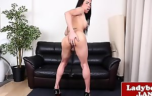 Real tranny spasmodical increased by stroking her dick