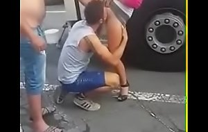 Guy forced up suck pussy in public