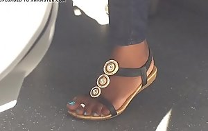 Hidden cam low-spirited ebony feet on train - here at GirlsDateZone.com