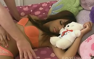 Sleeping ebon babe receives a hard dick