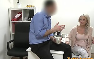 Fake Agent Sexy fair-haired model loves cock over the desk anent will not hear of sushi