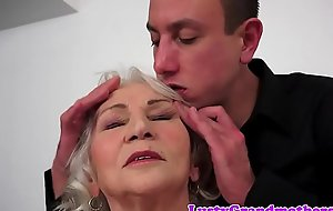 Tittyfucked grandma can't live without younger cock