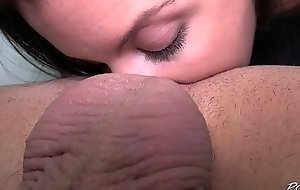 Horny newcomer play with cum soon first time in pretend of camera with unfamiliar