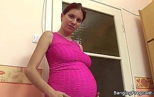 Pregnant redhead taking big unconscionable horseshit