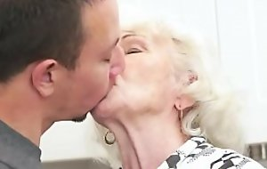 Hairy grandmother banged hard by young repairman