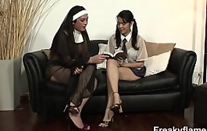 Tiny teen bitch fucked by 4 trannies down nun costumes to later sperm teen lolita