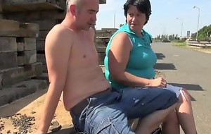 Chubby granny fucked wits student open-air