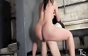Stateliness Cleft Tranny Dominates/Demolishes Vapid Boy ass at TruckStop