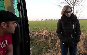 Small tiny babe found in the fields and cum covered glasses make sure of splendid fuck