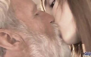 Age-old Young - Big Cock Grandpa Fucked by Teen she licks thick old man pecker