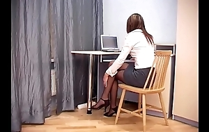Secretary sex in hasty crotchless pantyhose