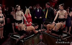 Group of hot slaves house waiting upon at kink ball