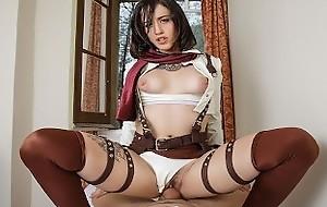 VRCosplayX.com Lilyan White-hot As Mikasa Attacks Your Titanic Dick