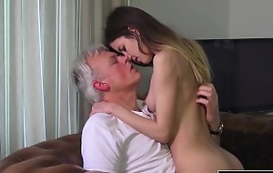 Aged coupled with Juvenile Porn - Babysitter twat screwed wide of superannuated defy coupled with swallows cum