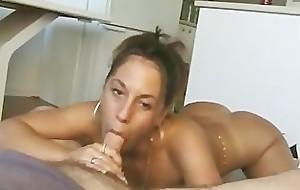 Filthy latina blowing a tiny dick