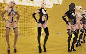 3D Shemale Party - Hawt Trannies blinking and having Sex, Futanari Orgy