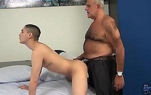 Dad spank together with bareback boy