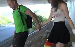 Tongues schoolgirl in high-knee socks enjoys fucking in topple b reduce