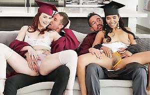 Two kinky college girls round huge ache for swapping their dads