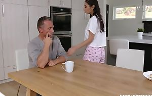 Mind-blowing brunette with natural tits serves stepdad's horseshit