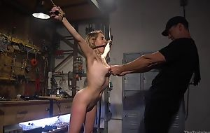 Bound sub with natural boobs receives roughly drilled by her master
