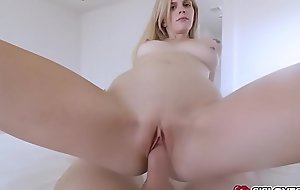 Blonde babe Megan Holly rides her stepbro on top of his cock bouncing her pussy up and down