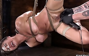 Puristic Asian fingered in hogtie suspension