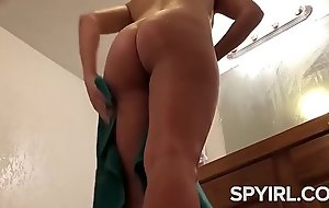Sexy Brunette before and After Shower-Hidden Cam Clip