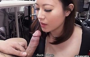 Cute brunette Ritsuko Tachibana swallows a boner in dramatize expunge office