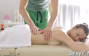 Delicious russian brunette girl gets body licked