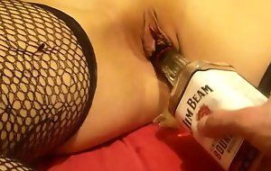 drunk sleeping girl fucked with bottle and cock