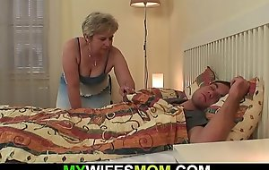 Horny mother inlaw wakes up him for cheating sex