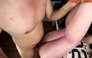 Young schoolgirl in pantyhose with a hole teases her ass and gets a big dick in her pussy ... cum on nylon is so sexy - Anya Queen