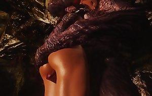 Hot brunette swallows 3D Monster Dick