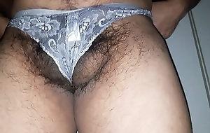 Man put on white wife's undershorts plus dancing in redness hiding his balls plus cock from camera.