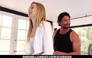 SheWillCheat- Blonde Wife Copulates Trainer In Front Of Husband