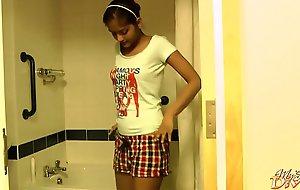 Seductive Dark Skin Order of the day Girl Striptease In Shower