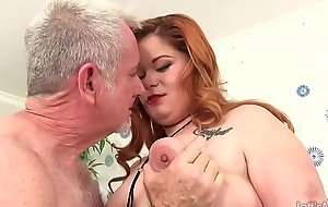 Fat Redhead Lilly Lust Sucks a Impervious Cock with the addition of Then Gets Fucked