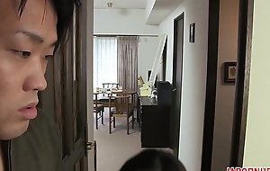 JAV Uncensored with english subtitle: Mom gives son blowjob before make one's departure