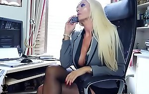 Blonde office boss bloomers nylons tease